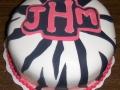 Zebra Monogram Cake