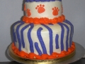 Orange and Blue Animal Print Tiered Cake