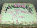 Elegant Green Pink Sheet Cake
