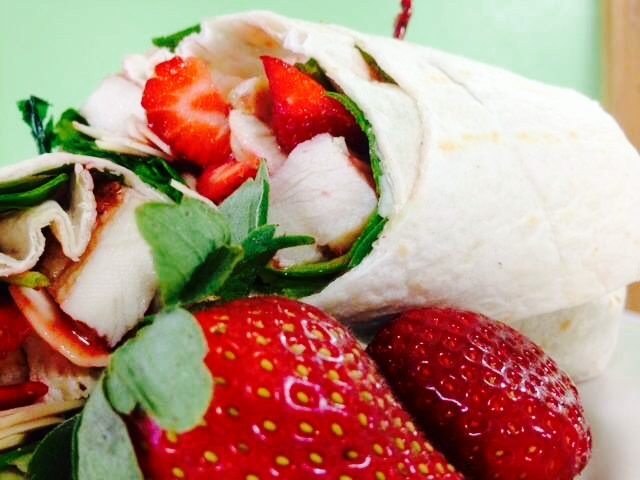 Spinach and Strawberry Salad Wrap (2)